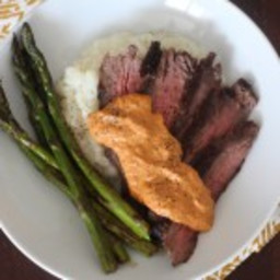Simple Skirt Steak with Romesco Sauce