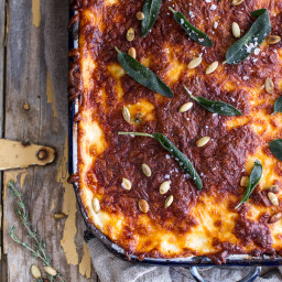 Simple Caramelized Butternut Squash and Kale Florentine Lasagna.