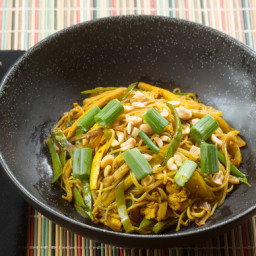 Singapore Curry Noodleswith Snow Peas and Yellow Squash