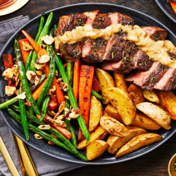 Sirloin and Mustard Shallot Cream Sauce with Roasted Potatoes and Carrot Gr