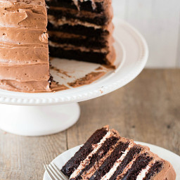 Six-Layer Chocolate Cake with Toasted Marshmallow Filling & Malted Chocolat