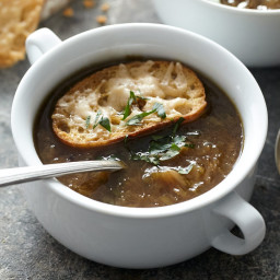 Six-Onion Soup with Parmesan Croutes