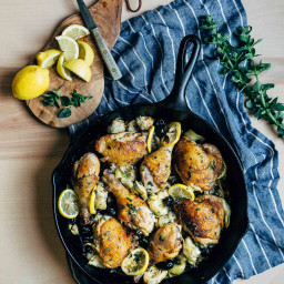 Skillet Chicken with Artichoke Hearts, Capers, and Olives