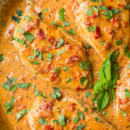 Skillet Chicken with Creamy Sun Dried Tomato Sauce