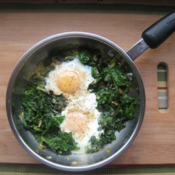 Skillet-Poached Eggs with Spinach, Pea Tendrils, and Leeks