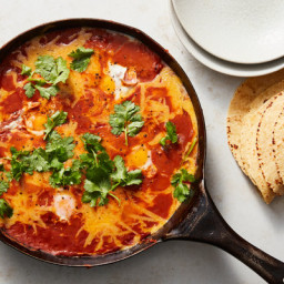Skillet Vegetarian Chili With Eggs and Cheddar