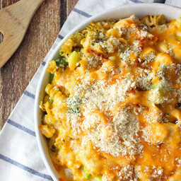Skinny-ish Cheesy Broccoli and Rotisserie Chicken Bake