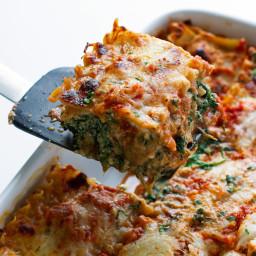 Skinny Mushroom Spinach Lasagna