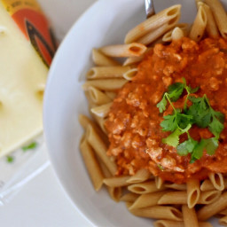 Skinny Pasta with Ground Turkey Meat Sauce