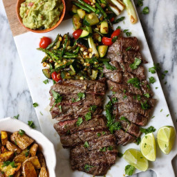 Skirt Steak and Grilled Veggies with Guacamole