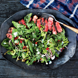 Sliced Strip Steak with Arugula and Parsley