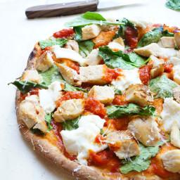 Slimmed Down Chicken & Spinach Pizza