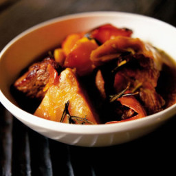 Slow-cooked celeriac with pork and orange