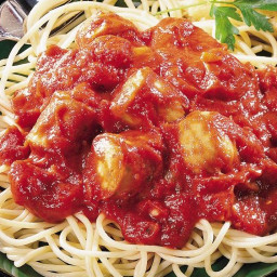 Slow-Cooked Italian Sausage Pasta Sauce with Spaghetti