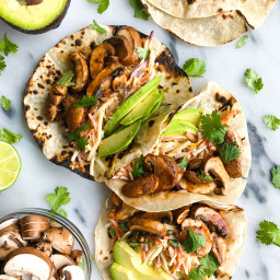 Slow-Cooked Mushroom Tacos + Spicy Slaw