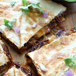 Slow Cooker BBQ Chicken Quesadillas with Bacon Avocado Dipping Sauce