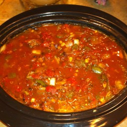 Slow Cooker Beef and Salsa Chili with Cilantro Cream