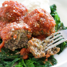 Slow Cooker Beef Meatballs with Broccoli Rabe