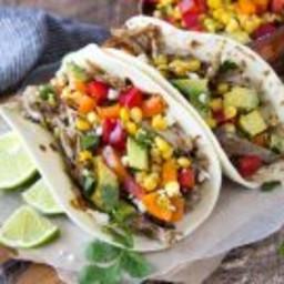 Slow Cooker Carnitas Tacos + Corn Salsa