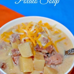 Slow Cooker Cheesy Potato Ham Soup