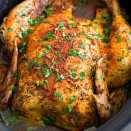 Slow Cooker Chicken {Whole Rotisserie Style}