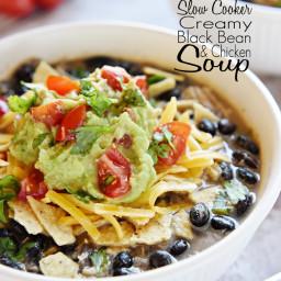 Slow Cooker Creamy Black Bean & Chicken Soup