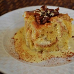 Slow Cooker Eggnog Bread Pudding