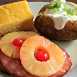Slow Cooker Ham Steaks and Pineapple Rings