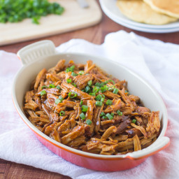 Slow Cooker Honey Pulled Pork Over Cornmeal Pancakes