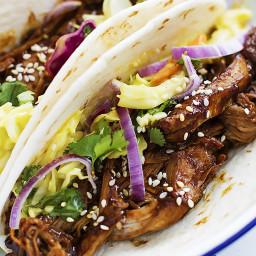 Slow Cooker Korean BBQ Pork Tacos