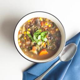 Slow Cooker Lentil Mushroom Soup