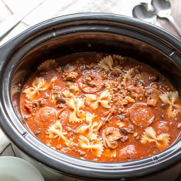 Slow Cooker Pizza and Pasta Soup {Freezer Meal Friendly}