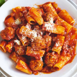 Slow-cooker pork and veal meatballs with rigatoni