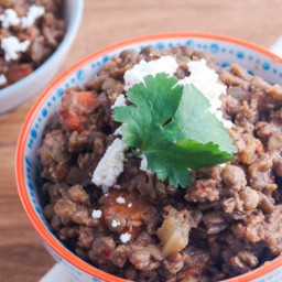 Slow Cooker Red Pepper and Ground Turkey Lentils