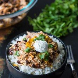Slow Cooker Salsa Chicken Rice Bowls