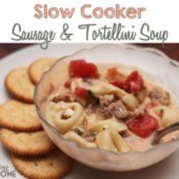 Slow Cooker Sausage and Tortellini Soup--Creamy Goodness!