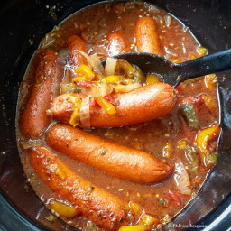 Slow Cooker Sausage, Onion and Peppers