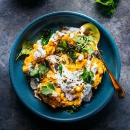 Slow-Cooker Squash, Millet and Lentil Dal with Herbed Yogurt