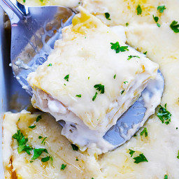 Slow Cooker Three Cheese Chicken Lasagna