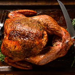 Slow Smoked Maple Bourbon Brined Turkey