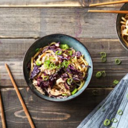 Slurp's Up! Sesame Chicken Noodles with Crunchy Cabbage and a Chilli Oil Dr