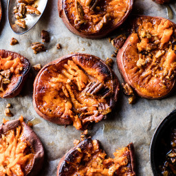 Smashed Sweet Potatoes with Bourbon Maple Butter