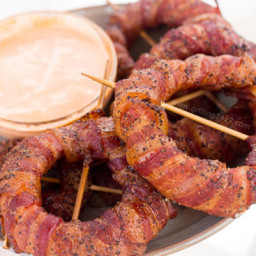 Smoked Bacon Wrapped Onion Rings; Spicy Sriracha Onion Rings