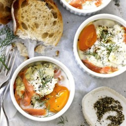 Smoked salmon and sour cream baked eggs