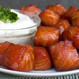 Smoked Salmon Nuggets w Cream cheese dip