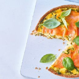 Smoked Salmon Quiche With Kale and Basil, and Sesame Seed Crust