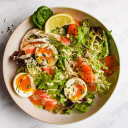 Smoked Salmon Salad in Creamy Caper Chive Dressing