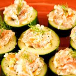 Smoked Salmon Salad in Cucumber Slices Recipe