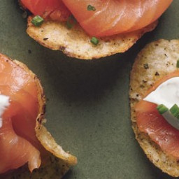 Smoked Salmon with Black Pepper Potato Chips and Lemon Crème Fraîche