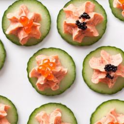 Smoked Salmon with Caviar on Cucumber